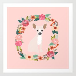 chihuahua fawn floral wreath flowers dog breed gifts Art Print