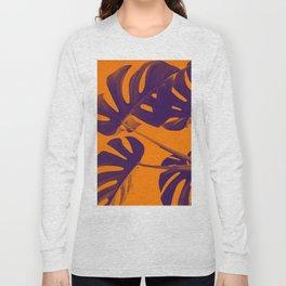 Monstera purple orange Long Sleeve T-shirt