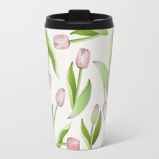 Retro Chic Pink Tulip Patten Travel Mug