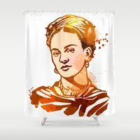 frida kahlo Shower Curtains featuring FRIDA KAHLO by BIG Colours