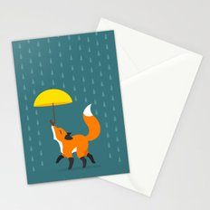 Happy as a Fox balancing an Umbrella in the Rain Stationery Cards
