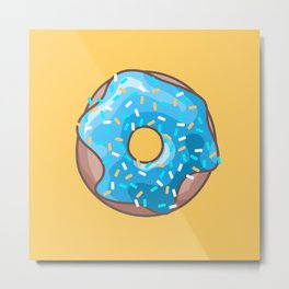 Blue Donut on Yellow Background Metal Print
