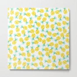 Trendy yellow green watercolor pineapple pattern  Metal Print