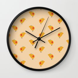 Sunny Family girl hand drawn home decor and textile design kids pattern on yellow Wall Clock