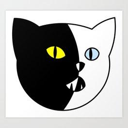 Black and White Cat Art Print