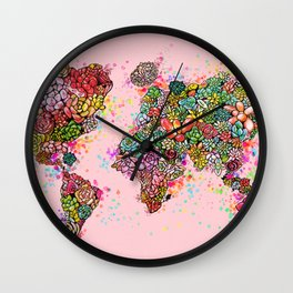 The World Succs ( Rose Gold Succulent Map ) Wall Clock
