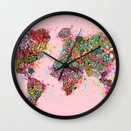 The World Succs ( Rose Gold Succulent Map ) Wall Clock