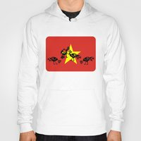 vietnam Hoodies featuring Vietnam Flag, Roosters Sparring by mailboxdisco