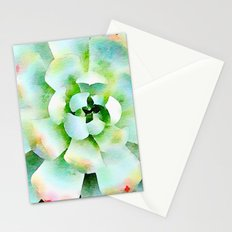 Mint Watercolor Succulent Stationery Cards
