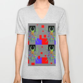 RED CUBIC GREY ART WITH BEETLE & PURPLE ACCENTS Unisex V-Neck
