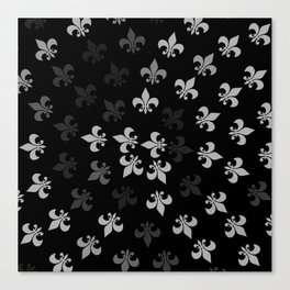 Black and White Fleur-Di-Lis Canvas Print