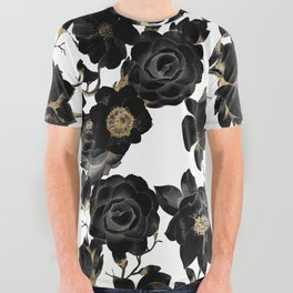 Modern Elegant Black White and Gold Floral Pattern All Over Graphic Tee