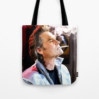 tarantino Tote Bags featuring Kurt Russell as Stuntman Mike McKay in the film Death Proof (Quentin Tarantino - 2007) by Gabriel T Toro