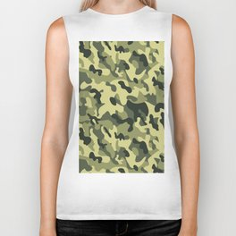 Green Tan Black Camouflage Pattern Texture Background Biker Tank