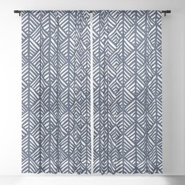 Abstract Leaf Pattern in Blue Sheer Curtain