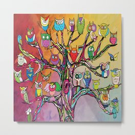 Tree of Owls Metal Print