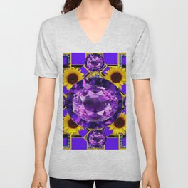 WESTERN AMETHYST GEMS PURPLE SUNFLOWER ART Unisex V-Neck