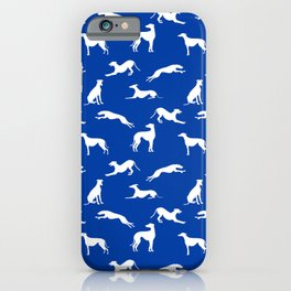 Greyhound Silhouettes White on Blue iPhone Case