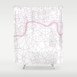 London White on Pink Street Map Shower Curtain
