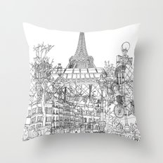 Paris! B&W Throw Pillow