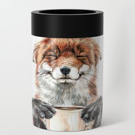 """"""" Morning fox """" Red fox with her morning coffee Can Cooler"""