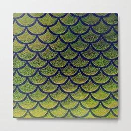 Chartreuse Cobalt Scales Metal Print
