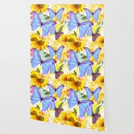 Bright Blue Butterflies Yellow Flowers #decor #society6 #buyart Wallpaper