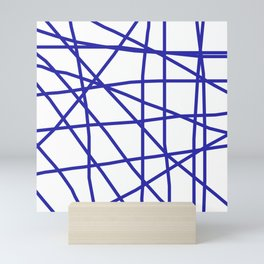 Doodle (Navy Blue & White) Mini Art Print