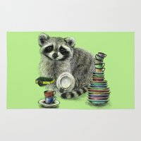 rocket raccoon Area & Throw Rugs featuring Raccoon by Anna Shell