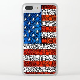 American Flag - USA Stone Rock'd Art United States Of America Clear iPhone Case