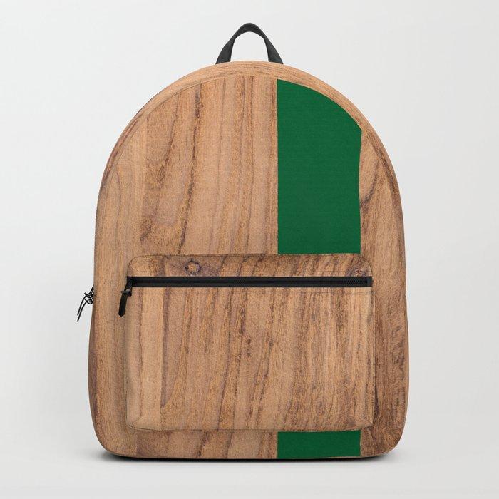 Striped Wood Grain Design - Green #319 Backpack