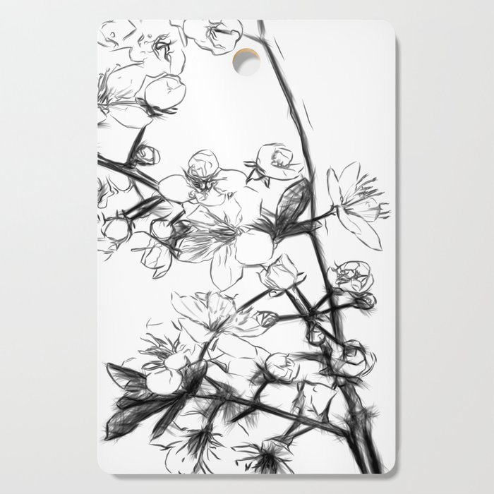 Cherry Blossoms Minimal Drawing Cutting Board