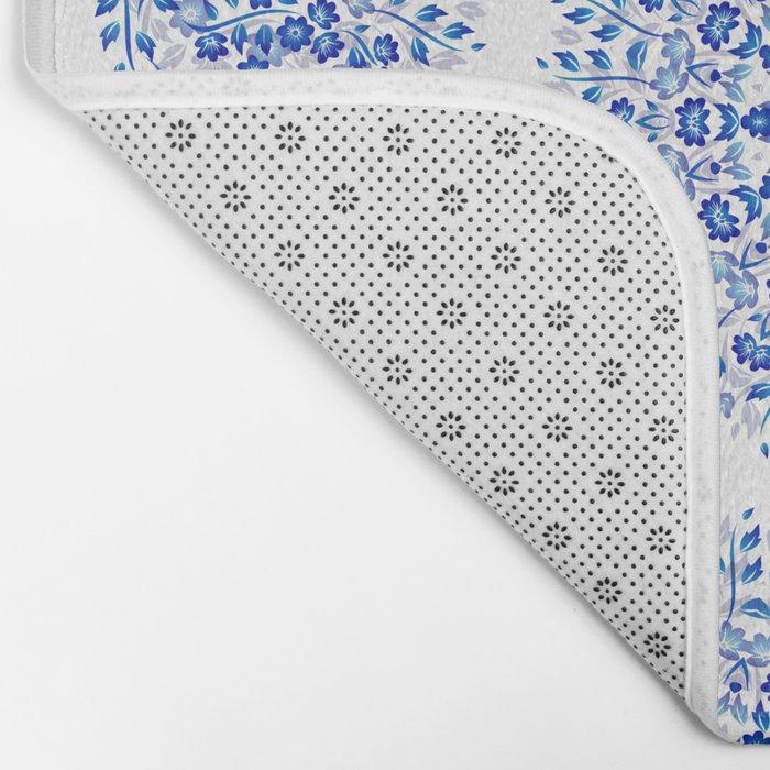 Blue White Floral Mandala Bath Mat