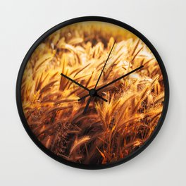golden wheat field Wall Clock