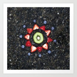 Fruitful Flowers - kiwi Art Print