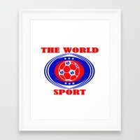 soccer Framed Art Prints featuring SOCCER  by Robleedesigns
