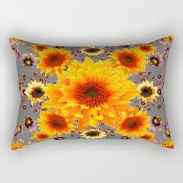 Yellow Sunflowers Floral Pattern Grey Art Rectangular Pillow