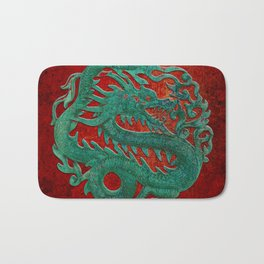 Wooden Jade Dragon Carving on Red Background Bath Mat