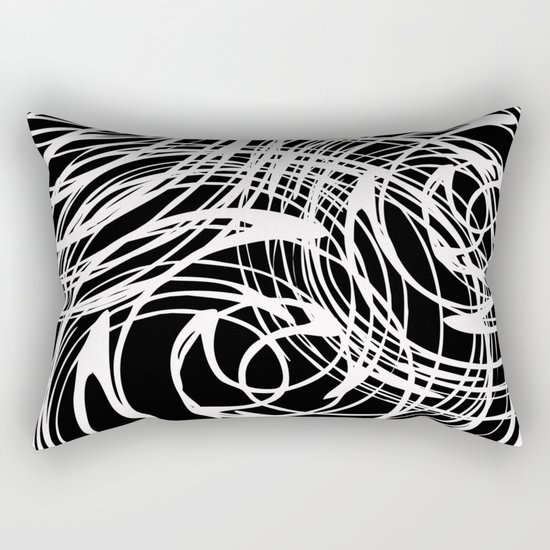 Abstract white pattern on a black background . Rectangular Pillow