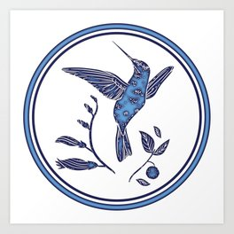 Delft Blue Humming Birds & Leaves Pattern Art Print