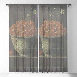Adriaen Coorte - Wild Strawberries in a Wan Li Bowl Sheer Curtain