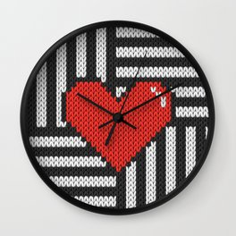 Knitted 8-bit red heart on striped background on products Wall Clock