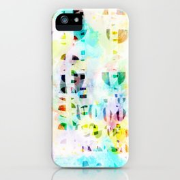 Abstract Puzzle Geos,Watercolor Geometric Painting in Colorful Pastel iPhone Case
