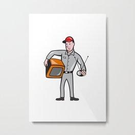 TV Repairman Technician Cartoon Metal Print