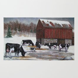 Holstein Dairy Cows in Snowy Barnyard; Winter Farm Scene No. 2 Rug