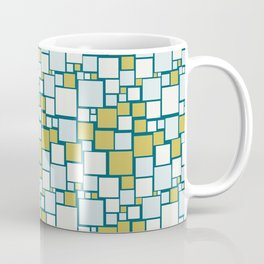 Off White, Pale Blue, Dark Yellow Funky Mosaic Squarre Pattern on Dark Teal Inspired by Sherwin Williams 2020 Trending Color Oceanside SW6496 Coffee Mug
