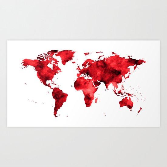 World Map Red Paint Art Print