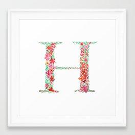 Floral Monogram Letter H Framed Art Print
