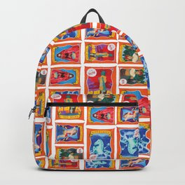 Sideshow Banner Multi-Print Pattern on White Backpack