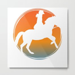 Horse riding on horse farm with rider Metal Print